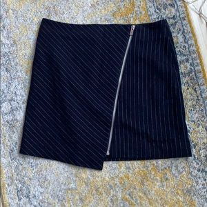 Navy blue Pinstripe zipper skirt